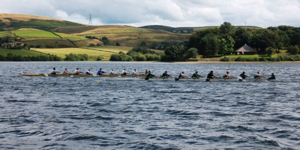 Masters eight at North of England Sprint championships, Hollingworth Lake Rowing Club, Lancashire 2013