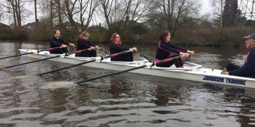 Stable coxed quad rowing on River Mersey in Warrington