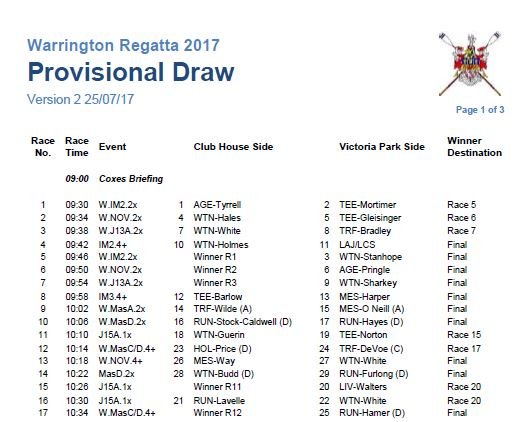 Provisional Draw